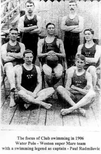 1906 Weston super Mare Water Polo team with legendary captain Paul Radmilovic