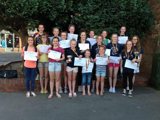 County Championships Synchronised Swimmers with awards